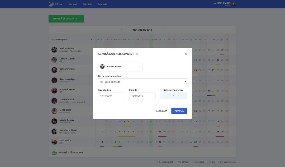Adaugă concedii în Pontaj Online iFlow