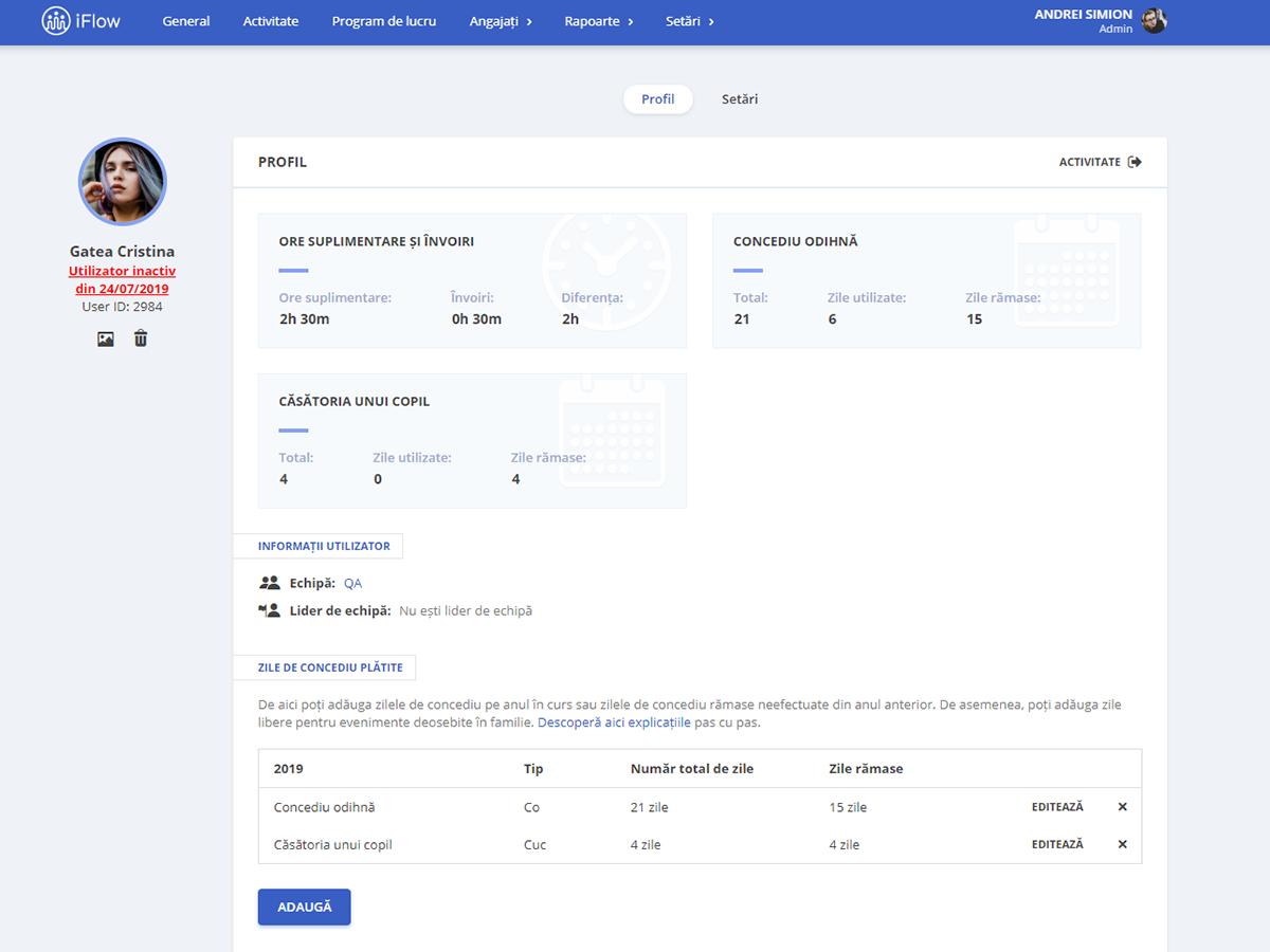 Profilul de utilizator pentru angajat dezactivat în iFlow