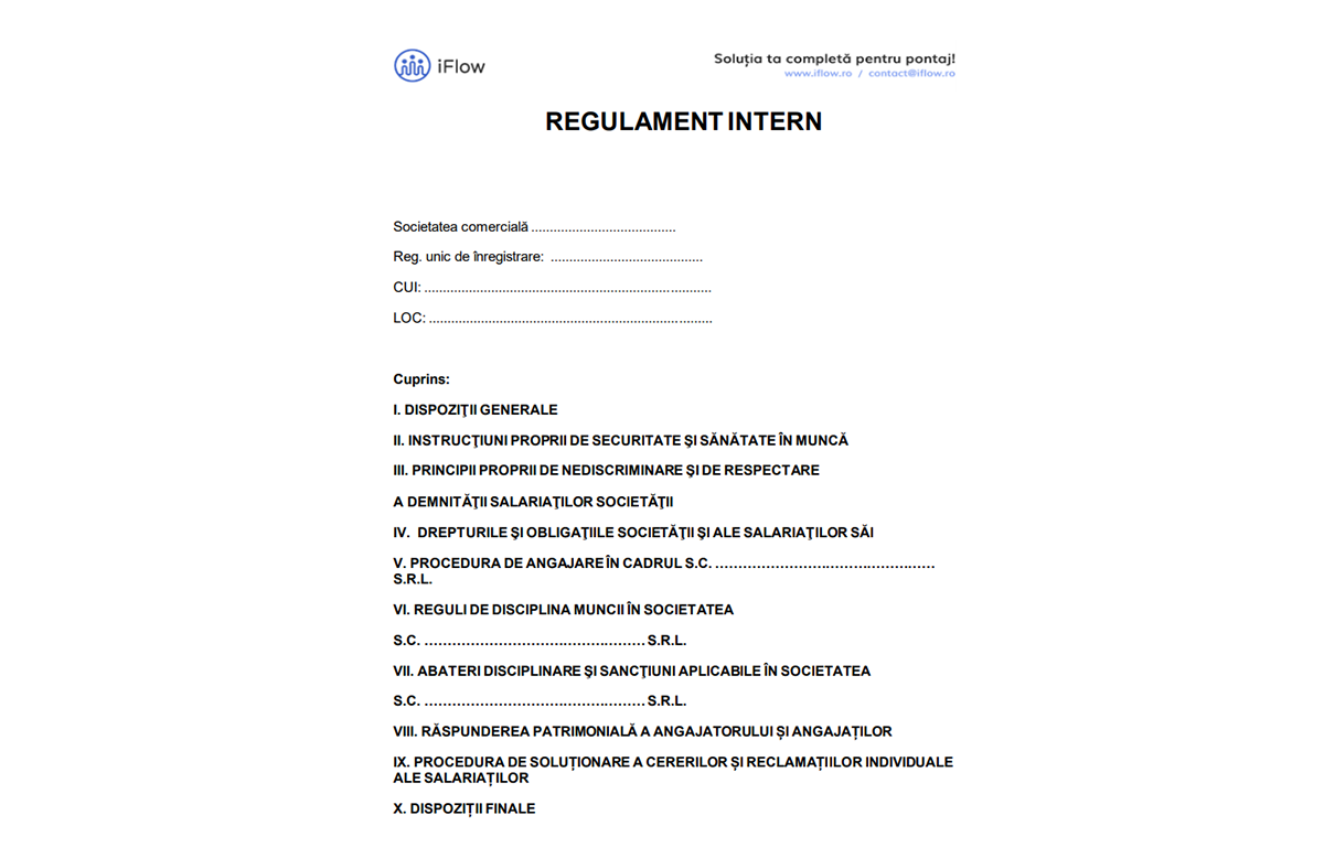 Model regulament intern